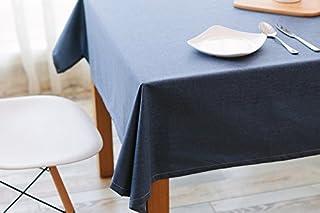 Ommda lniany obrus na stół, zmywalny, wodoodporny, długi, prostokątny kształt, łatwy w pielęgnacji, 90 x 130 cm, niebieski