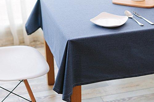 Ommda Nappe Lin Anti-tâche Imperméable Nappe de Table a Manger 90x130cm Bleu