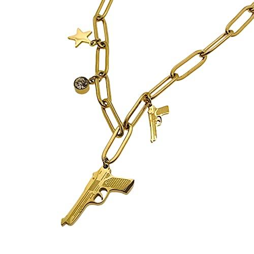 Collar famoso AISADI 20090703/14 para regalo de rifle revuelta, chapado en oro, antialérgico de acero inoxidable quirúrgico, bluberry ttm xuping moonrier stainless steel sunlight