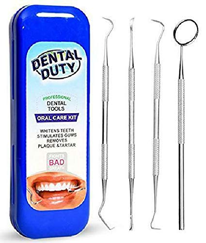 Professional Dental Hygiene Kit, Calculus Plaque Remover Set , Stainless Steel Tools, Tarter Scraper, Tooth Pick, Dental Scaler and Mouth Mirror Instruments. Hygienist Kit, Home Use Tools For Adults