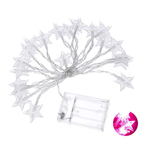 E-House kerstaccessoires 6m 40 LEDs Star Fairy geschenken licht batterijaangedreven Xmas Wedding Party Decor - Blue roze