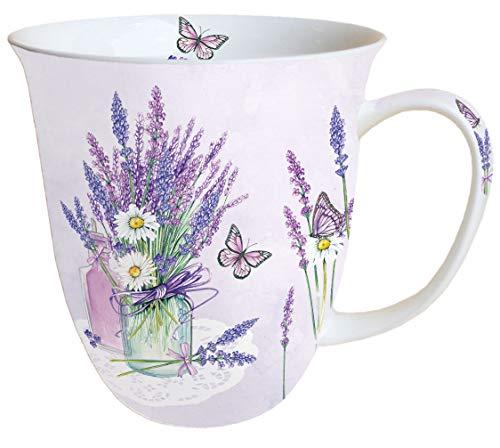 Ambiente Becher Mug Tasse Tee/Kaffee Becher ca. 0,4L Floral Lavender Jar Lilac