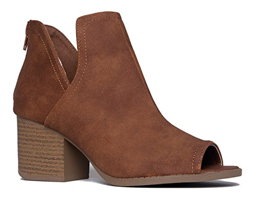 J. Adams Tabs Western Boots - Cut Out Peep Toe Stacked Low Heel Ankle Bootie