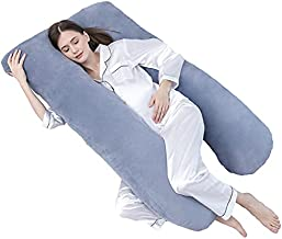 DOWNCOOL Pregnancy Pillows with Velvet Cover, U Shaped Full Maternity Body Pillow for Sleeping, Support for Back, Hips, Legs, Belly for Pregnant Women (Navy Blue, 55 x 28 inches)