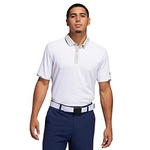adidas Polo térmico RDY para hombre, diseño de rayas Color blanco y gris. L