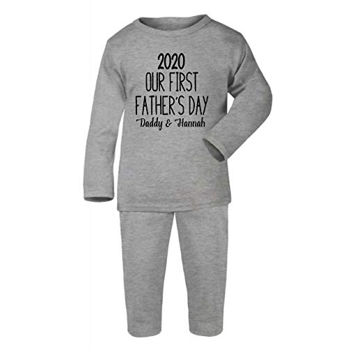 in Gold Cotton Baby PJ Pajama Set Long Sleeve 6-12 Months Grey Our First Fathers Day 2020 Daddy /& Name