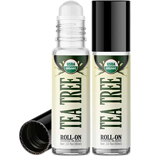 Organic Tea Tree Roll On Essential Oil Rollerball (2 Pack - USDA Certified Organic) Pre-diluted with Glass Roller Ball for Aromatherapy, Kids, Children, Adults Topical Skin Application - 10ml Bottle