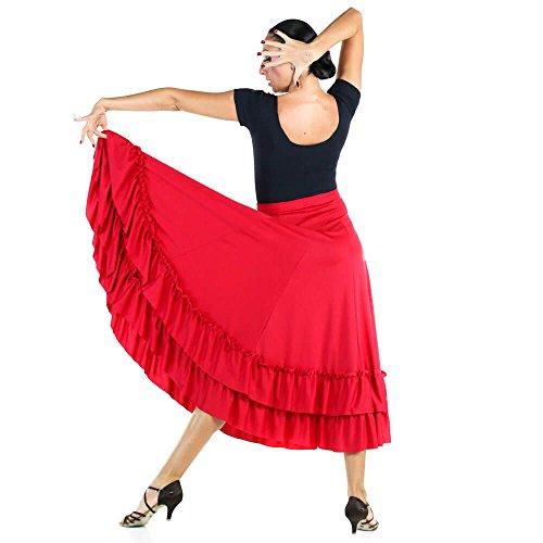 Danzcue Damen Zwei Rüschen Flamenco Tanzrock, Schwarz, XL