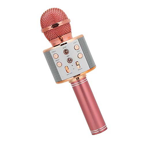Micrófono Inalámbrico Karaoke para Niños, Reducción Ruido Selfie Portable Altavoz Bluetooth con Conector 3,5 Mm, Máquina Karaoke para Teléfono/Almohadilla/TV Plug And Play(Rosado)