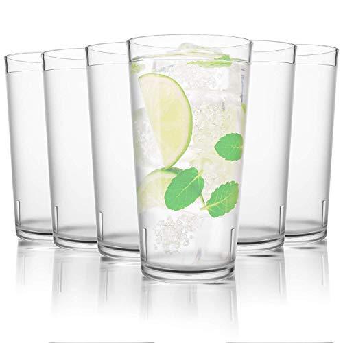 PEYOU Trinkbecher, Kunststoff Gläser, Wasserglas 6 Stück 480ml stapelbar, trinkglas Kinder, Restaurant-Qualität Premium, für Bier Whiskey Wein Saft Becher Set, BPA-frei und spülmaschinenfest