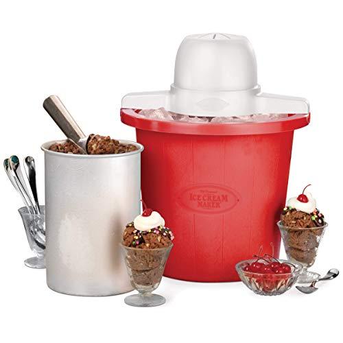 Nostalgia ICMP4RD 4-Quart Bucket Electric Ice Cream Maker, Red