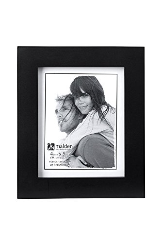 Malden 4x5 Picture Frame - Wide Real Wood Molding, Real Glass - Black