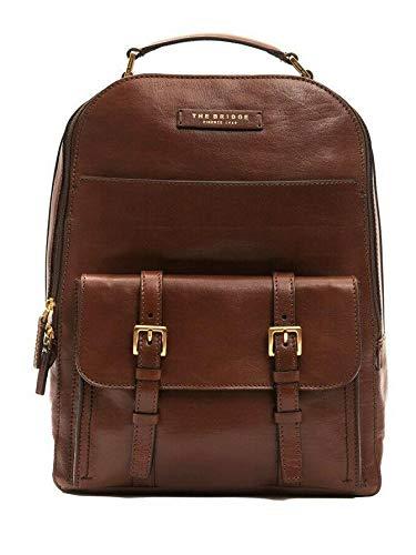 "The Bridge Zaino Backpack large Porta Pc fino a 15"" pelle leather made in Italy man uomo 41x31x20 Cm marrone brown 46180801"