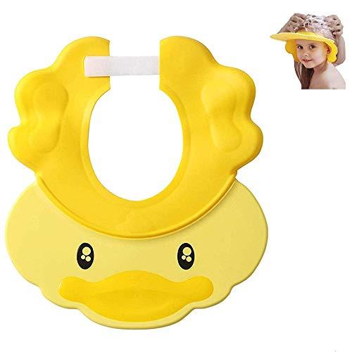 Gorro de ducha para bebé, visera, champú de silicona ajustable, gorro de ducha, gorro de baño multiusos para proteger los oídos de los ojos de los niños pequeños (Yellow)