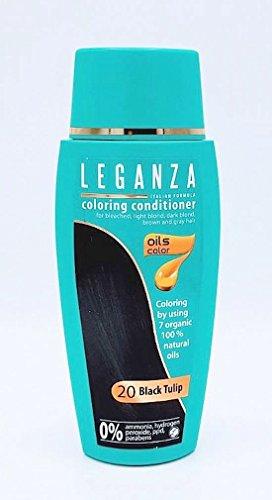 Leganza Färbender Conditioner Farbe 20 Schwarze Tulpe Mit 7 natürlichen Ölen Ammoniak und Paraben frei