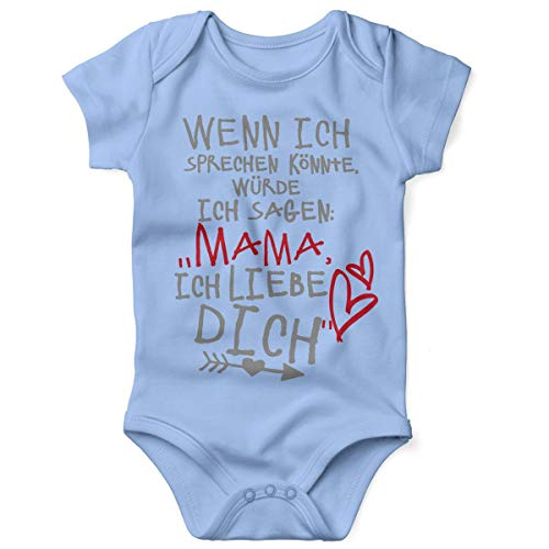 Mikalino Babybody mit Spruch für Jungen Mädchen Unisex Kurzarm Wenn ich sprechen könnte würde ich Sagen: Mama ich Liebe Dich | handbedruckt | Handmade with Love, Farbe:Sky, Grösse:74
