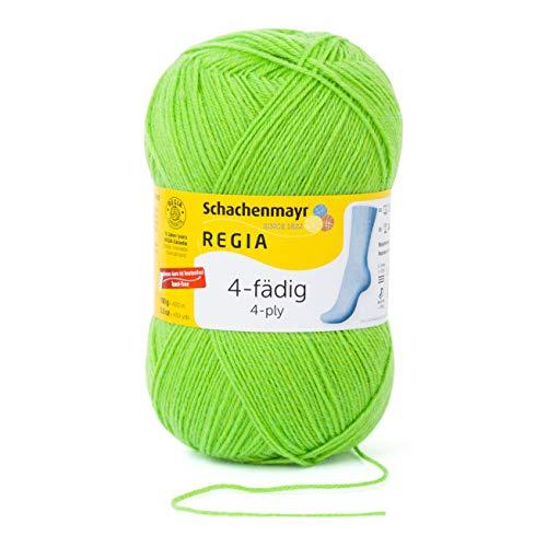 REGIA 4-fädig Uni 9801268-06613 knall frosch Handstrickgarn, Sockengarn, 100g Knäuel