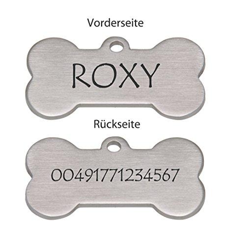 International Connection Anhänger mit Gravur für Hunde aus Edelstahl mattiert Name und Telefonnummer eingraviert