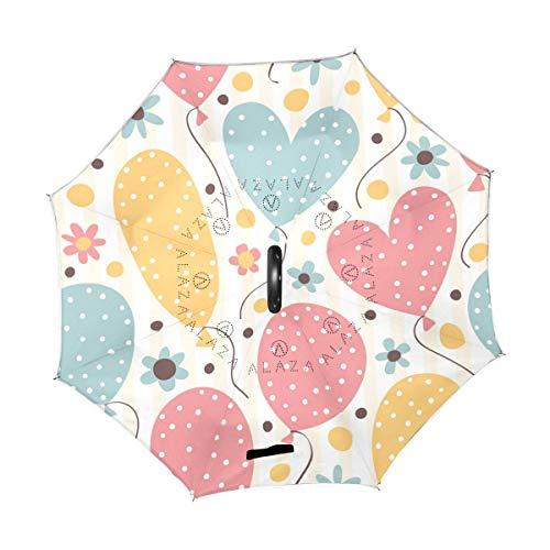 rodde Paraguas Lindo Rayas Cumpleaños Amor Corazón Inverso Invertido Reversible Lluvia del Sol para el automóvil Uso en Exteriores con Mango en Forma de C