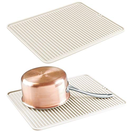 mDesign 2er-Set rutschfestes Abtropfgestell – Abtropfmatte aus Silikon für Töpfe und Geschirr – spülmaschinengeeigneter Geschirrabtropfer für die Küche – cremefarben