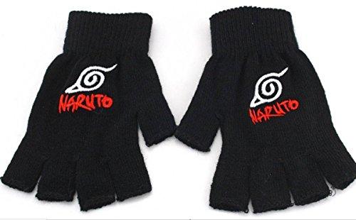 QIroseonly Anime Series Yoga Pilates Fingerless Exercise Grip Gloves Knitted Black Gloves (Naruto flag)