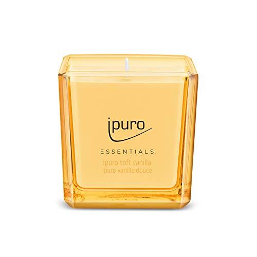 Ipuro Essentials Duftkerze soft vanilla - Raumduft für ein köstliches, gutes Raumklima - Kerze mit hochwertigen Inhaltsstoffen – umweltfreundliches Design, 125 g