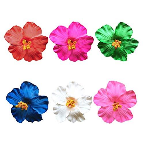 TYWZJ 6 Piezas Flor de Hibisco Pinza para el Pelo simulación Floral Accesorios para el Cabello Hawaiano para Festival de Boda