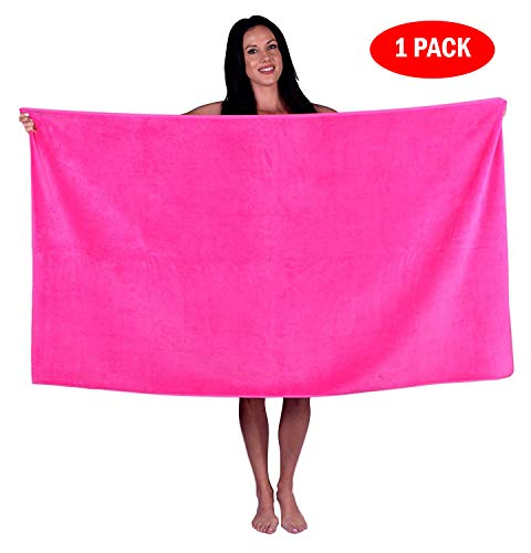Turquoise Textile 100% Turkish Cotton Eco-Friendly Oversize Solid Pool Beach Towel, 35x60 Inch (1 Pack, Hot Pink)