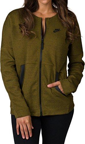 Nike Damen Tech Fleece Bomber Jacke, Verde/Heather/Olive Flak/Negro, S-36/38
