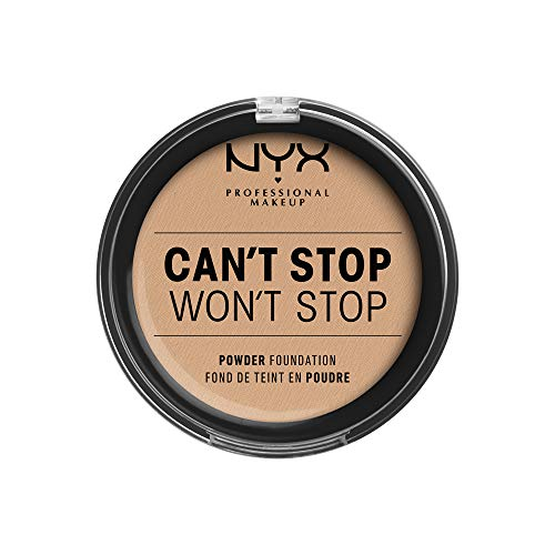 NYX Professional Makeup Can't Stop Won't Stop Full Coverage Powder Foundation, Mattes Finish, Glanzkontrolle, Langanhaltend, Vegane Formel, Farbton: Natural