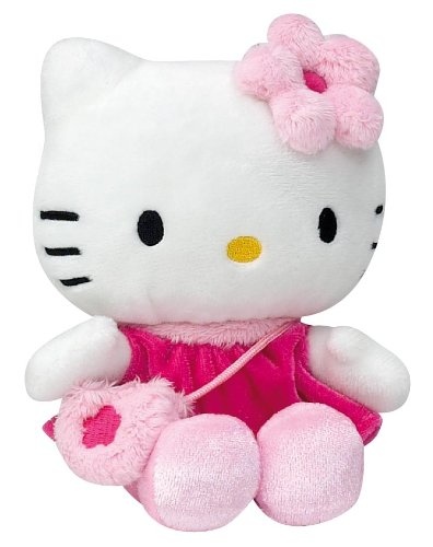 Hello Kitty - 021493 - Jouet Premier Age - Bean Bag en Peluche - Habillage Robe Fushia - Sac Rose - 15 cm