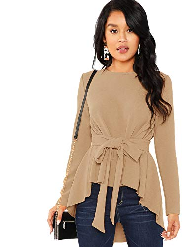 Fashion Shopping Romwe Women's Raw Hem Long Sleeve Belted Flare Peplum Blouse Shirts Top
