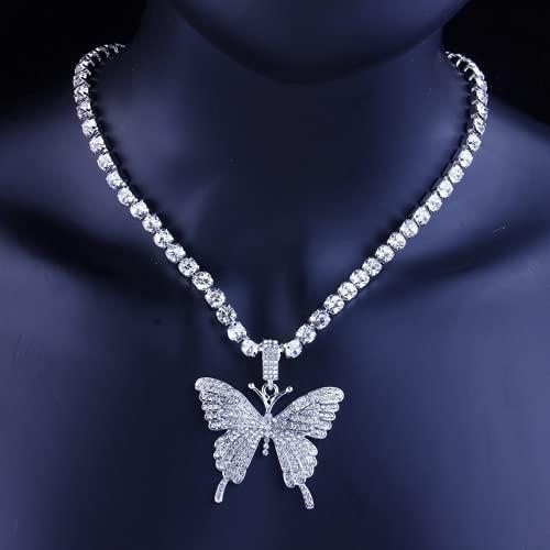 Qtlsgh Colgante de Plata Hollow Butterfly Taladro de Agua Collar Cadena de clavícula Pensamientos Brillantes