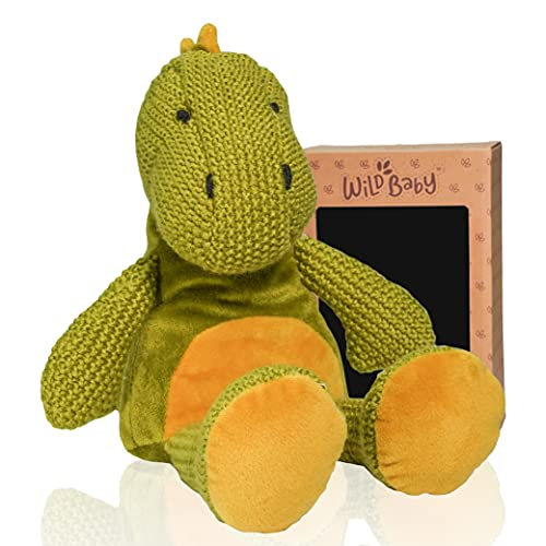 """WILD BABY Dinosaur Stuffed Animal - Heatable Microwavable Plush Pal with Aromatherapy Lavender Scent for Kids - 12"""""""