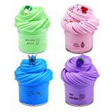 Dongshop 4 Pack Fluffy Butter Slime Soft Non-Sticky Cotton Slime Supplies Toys Stress Relief Toys DIY Sludge Party Favors Scented Stretchy Slime Gift for Girls Boys Adults