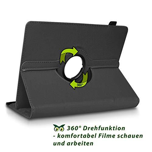 NAUC Tablet Hülle kompatibel für Lenovo Tab 2 A10-70 Tasche Schutztasche Cover Schutz Case 360° Drehbar Etui hochwertiges Kunst-Leder, Farben:Schwarz