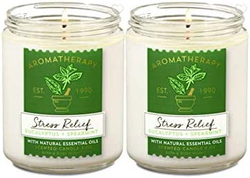 Bath Body Works Stress Relief Aromatherapy Scented Candles Eucalyptus Spearmint Scent Soy Based product image