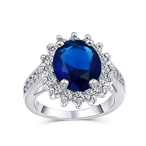 Bling Jewelry 5CT Royal Blu OVA Cubic Zirconia Zaffiro Simulato CZ Crown Halo Impegno per Donne Banda in Ottone Placcato in Argento
