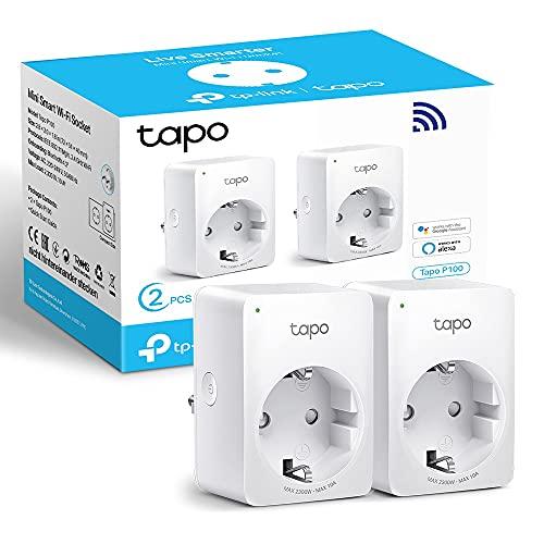 TP-Link TAPO P100 (2-Pack) - Mini Enchufe Inteligente WiFi, óptimo para programar el encendido yapagado y salvar energía, Control Remoto, no necesita HUB, compatible con Alexa y Google Home