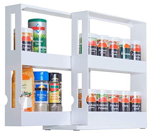 UPP Estantería para especias, especiero I cajón retráctil para condimentos, especias, medicamentos... I Almacenamiento vertical retráctil, organizador universal doble extensible (28 x 10.2 x 27.5