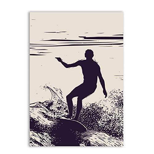 xiongda Surfer Silhouette Surf Art Print Poster, Retro Surfing Leinwand Malerei Wandbilder für Home Beach Art Decoration-20X28 Zoll ohne Rahmen