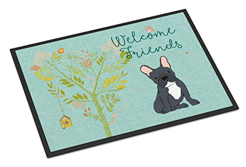 Caroline's Treasures BB7632MAT Welcome Friends Black French Bulldog Indoor or Outdoor Mat 18x27, 18H X 27W, Multicolor