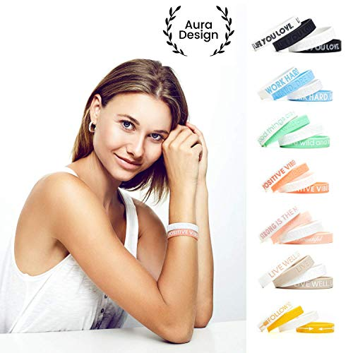 Aura Design Damen-Armband | Pfirsich | Positive Vibes ONLY | Silikonarmband | Sportarmband | Fitness-Armband | Armband für Damen | 4 Armbänder