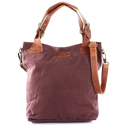LECONI Henkeltasche Vintage Look Damentasche Handtasche Damen Shopper mit Schulterriemen Beuteltasche Canvas Leder 34x35x10cm bordeaux LE0054-C