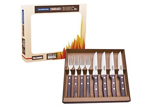 Tramontina 29899-297 Steakbesteck Gaucho, Set 8-teilig, mit 4 Steakmessern und 4 Steakgabeln, Edelstahl, FSC, AISI 420, brauner Echtholzgriff