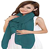 Teal Green Solid Color Design Veil Shawl Voile Scarf Wrap Stole Throw Head Wrap Face Cover Pashmina CJ Apparel New
