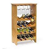 Relaxdays Weinregal aus edlem Bambus H x B x T: ca. 84 x 50 x 24 cm Weinhalter für 16 Flaschen und 12 Gläser Flaschenregal aus 3 Teilen mit Glashalter und Ablage Weinflaschenregal zum Stapeln, natur