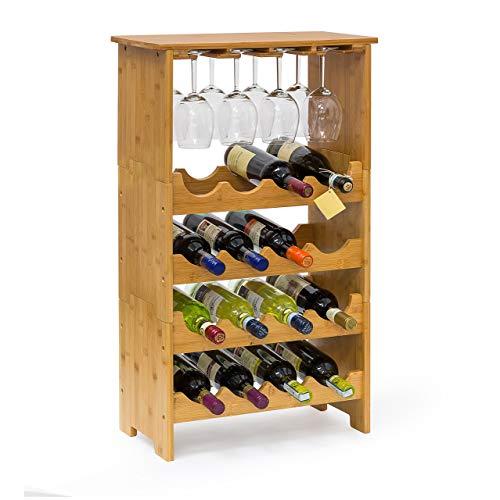 Relaxdays wijnrek van edel bamboe, h x b x d: ca. 84 x 50 x 24 cm wijnhouder voor 16 flessen en 12 glazen flessenrek uit 3 delen met glashouder en plank wijnflessenrek om te stapelen, naturel