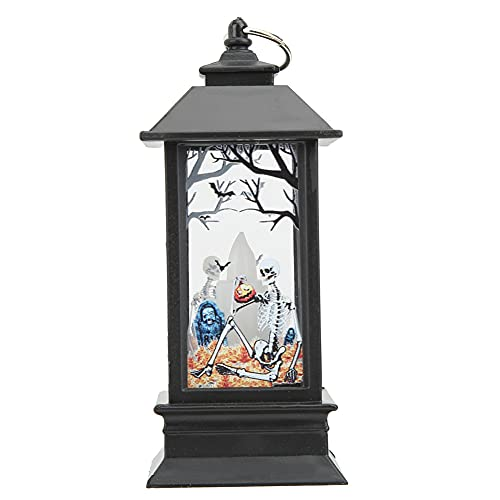 SALALIS Luz de Linterna de Halloween, lámpara de decoración, Adorno de decoración de Fiesta, lámpara Colgante a batería para Decoraciones navideñas para la Escuela Familiar(Pequeño Esqueleto Nuevo)