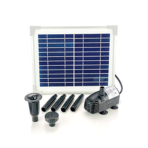 AEO Solar Water Pump Kit: 12V DC Brushless Submersible 124GpH Water Pump w/ 5W Solar Panel for Bird Bath, Fish Tank, Small Pond, Garden Decoration, Water Circulation for Oxygen (No Backup Battery)